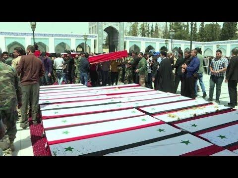 صوت الإمارات - شاهد تشييع العشرات من قتلى الفوعة وكفريا قرب دمشق