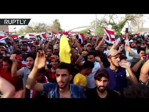 شاهد آلاف المتظاهرين يحتجون في البصرة وسط انتشار أمني كثيف