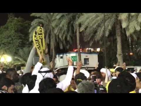 صوت الإمارات - بالفيديو جماهير نادي الوصل يرفعون شعارت استفزازية ومسيئة لفريق النصر