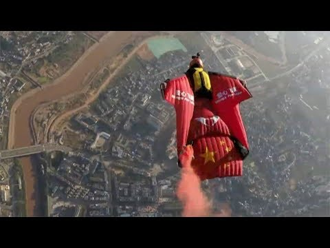 wingsuit flying world cup attracts international daredevils in sw china
