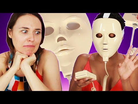 women try a face mask