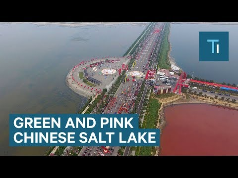 an ancient salt lake in china has turned pink