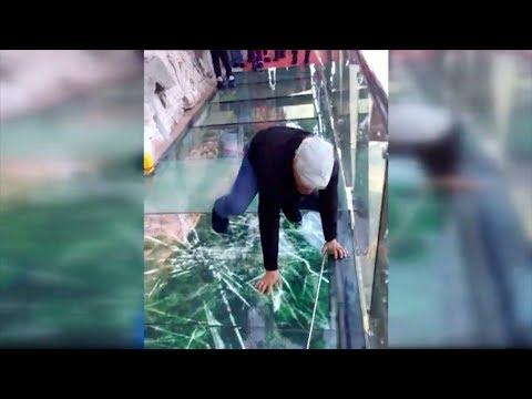 tourist terrified by new glass walkway that cracks