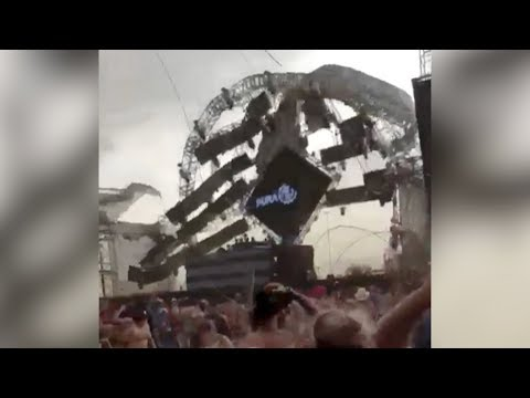 shocking moment stage collapses killing dj at music festival in brazil