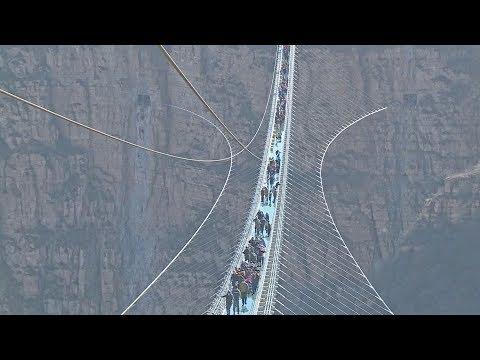 worlds longest glassbottom bridge opens in north china