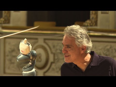 robot conducts andrea bocelli and italian orchestra