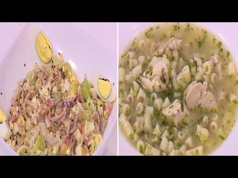 صوت الإمارات - بالفيديو طريقة إعداد ومقادير الرشتة بالدجاج  سلطة بروتين الحمص