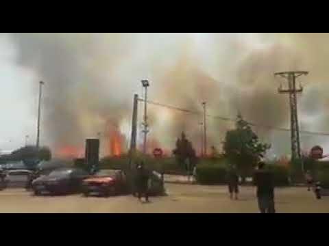 صوت الإمارات - شاهد حريق ضخم في مطار برشلونة الدولي