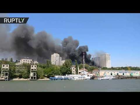 صوت الإمارات - شاهد حريق ضخم في مدينة روستوف على نهر الدون