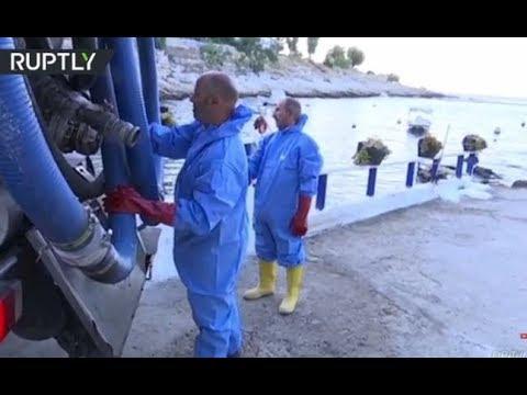 صوت الإمارات - شاهد تسرب نفطي بعد غرق سفينة قرب ساحل أثينا