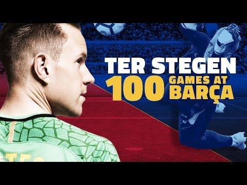 صوت الإمارات - شاهد احتفالية برشلونة بخوض تير شتيغن 100 مباراة معه