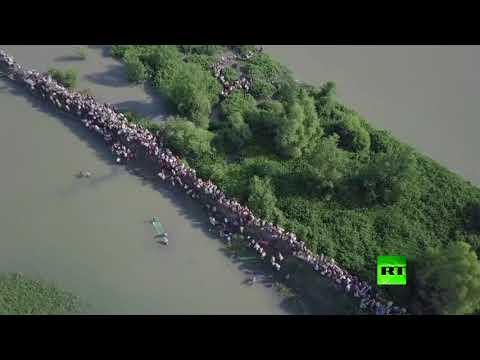 صوت الإمارات - شاهد طائرة من دون طيار تراقب نزوح الآلاف من الروهينغا من ميانمار