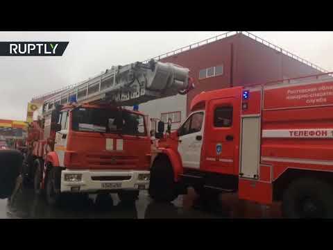 صوت الإمارات - شاهد حريق هائل في مجمع تجاري قرب روستوف الروسية