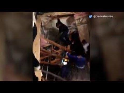 شاهد لحظة انهيار أرضية شقة بسبب حفلة شبابية