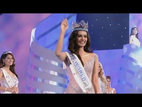 لحظة تتويج الهندية مانوشي تشيلار ملكة لجمال العالم 2017