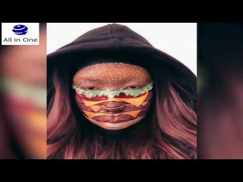 فتاة تحول وجهها إلى وجبات سريعة