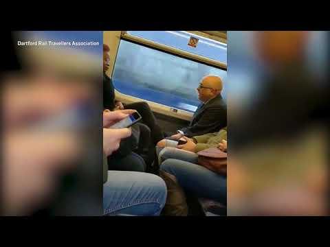 شاهد تصرف غير لائق من سيدة يزعج رجلا على متن قطار