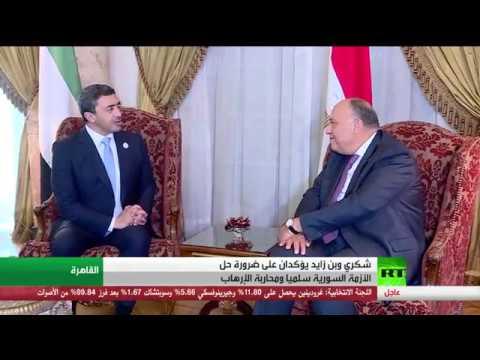 شاهد محادثات بن زايد مع شكري في القاهرة