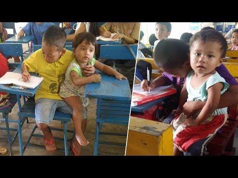 شاهد سخروا منه لأنه يأخذ معه أخاه الصغير إلى المدرسة ولكنهم ندموا