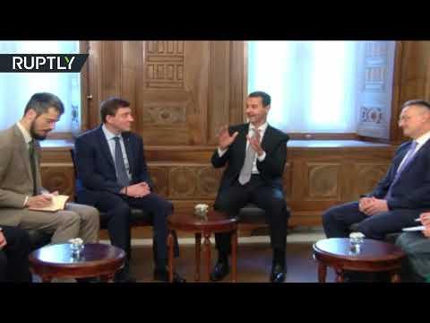 شاهد الرئيس الأسد يستقبل وفدًا من البرلمان الروسي