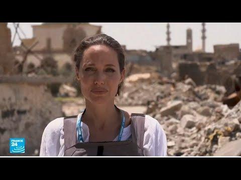 شاهدأنجلينا جولي تتفقد مخيمات اللاجئين السوريين في الموصل وكردستان العراق