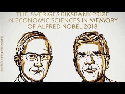 شاهد الأميركيان وليام نوردهاوس وبول رومر يفوزان بجائزة نوبل للاقتصاد
