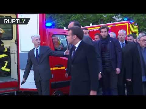 شاهد الرئيس الفرنسي ماكرون يصل كاتدرائية نوتردام