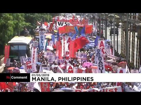 شاهد عمال فلبينيون يطالبون الحكومة بتحسين أوضاع العمل