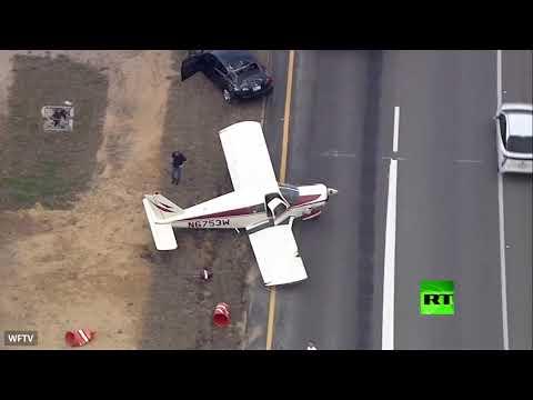 شاهد لحظة هبوط طائرة اضطراريا في فلوريدا الأميركية