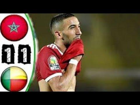 شاهد مُلخَّص الشوط الأول لمباراة المغرب وبنين