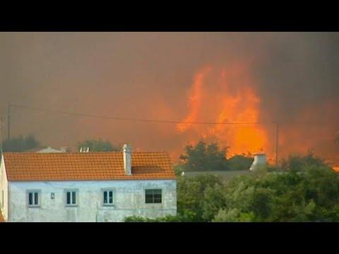 شاهد نيران الحر تحرق غابات البرتغال وألف من رجال الإطفاء يحاولون إخمادها