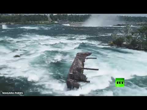 شاهد العواصف تحرك قاربًا علق قرب شلالات نياغارا منذ 100 عام