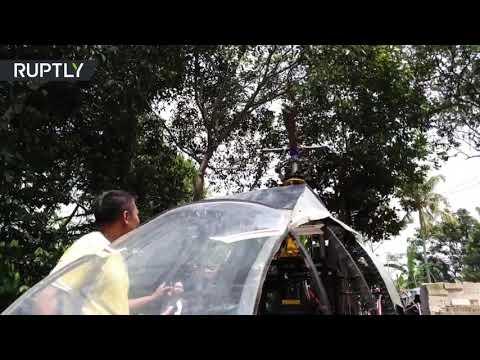 شاهد رجل يصمم مروحية داخل فناء منزله في إندونيسيا لتخطي الازدحام
