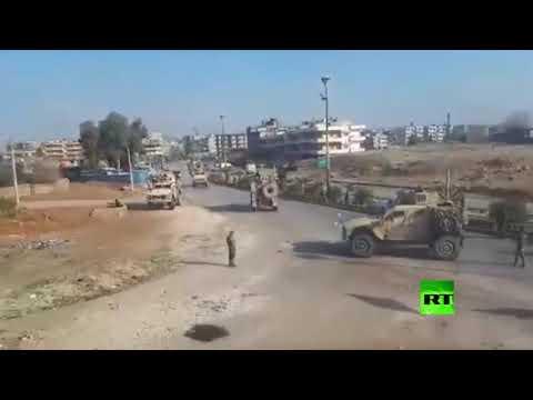 شاهد حامية مطار القامشلي تقطع الطريق أمام قوات أمريكية وتجبرها على العودة