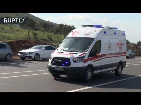 شاهد هكذا تم نقل الجنود الأتراك المصابين بغارة جوية في إدلب