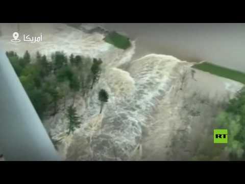شاهد الفيضانات تُغرق مدينة ميدلاند الأميركية وتُشرد آلاف السكان