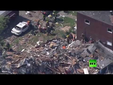 شاهد انفجار قوي في مدينة بالتيمور الأميركية