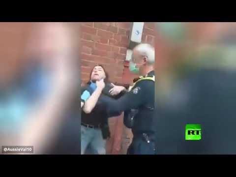 شاهد ضابط شرطة يخنق امرأة بعد رفضها ارتداء الكمّامة في أستراليا