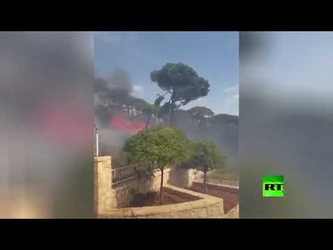 شاهد اشتعال الحرائق قرب حدود لبنان مع إسرائيل بسبب ارتفاع الحرارة