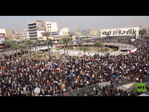 شاهد الآلاف من أنصار التيار الصدري يتظاهرون في ساحة التحرير في العاصمة العراقية