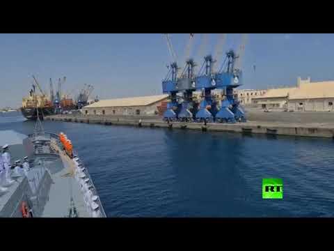 شاهد سفينة حربية روسية تصل بورتسودان