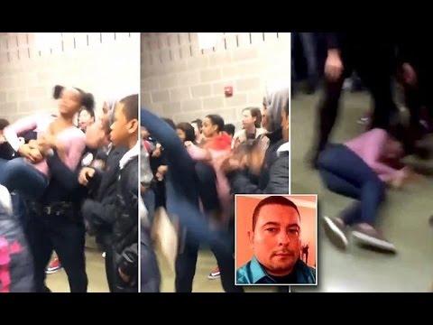 صوت الإمارات - شاهد لحظة اعتداء شرطي على طالبة وطرحها أرضًا