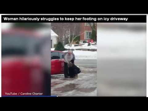 صوت الإمارات - شاهد رد فعل أم على انزلاق ابنتها على الجليد