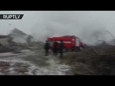 صوت الإمارات - شاهد الدمار الذي سبّبه سقوط طائرة تركية في قرغيزيا